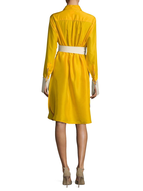 9e31f2ef1a9 Lyst - Max Mara Tazzina Silk Side Split Shirtdress in Yellow