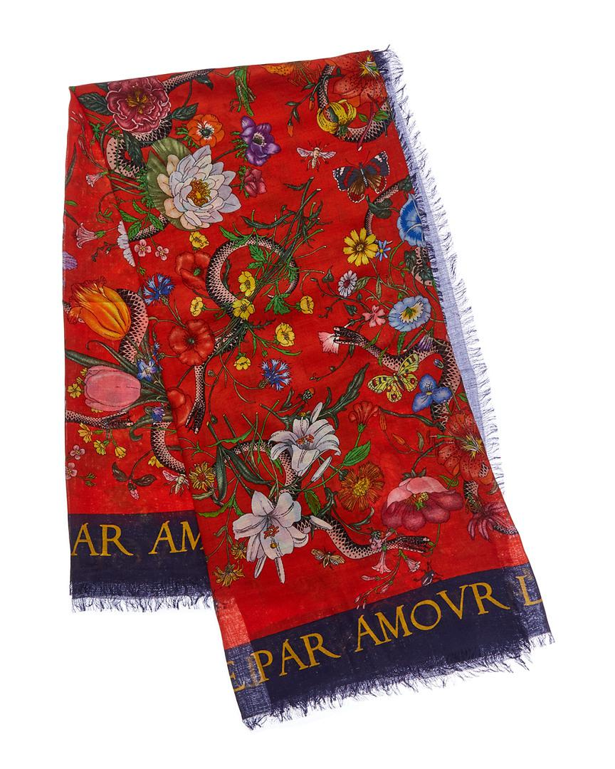 8a920a935a7 Gucci Flora Snake Print Wool   Silk-blend Scarf in Red - Lyst