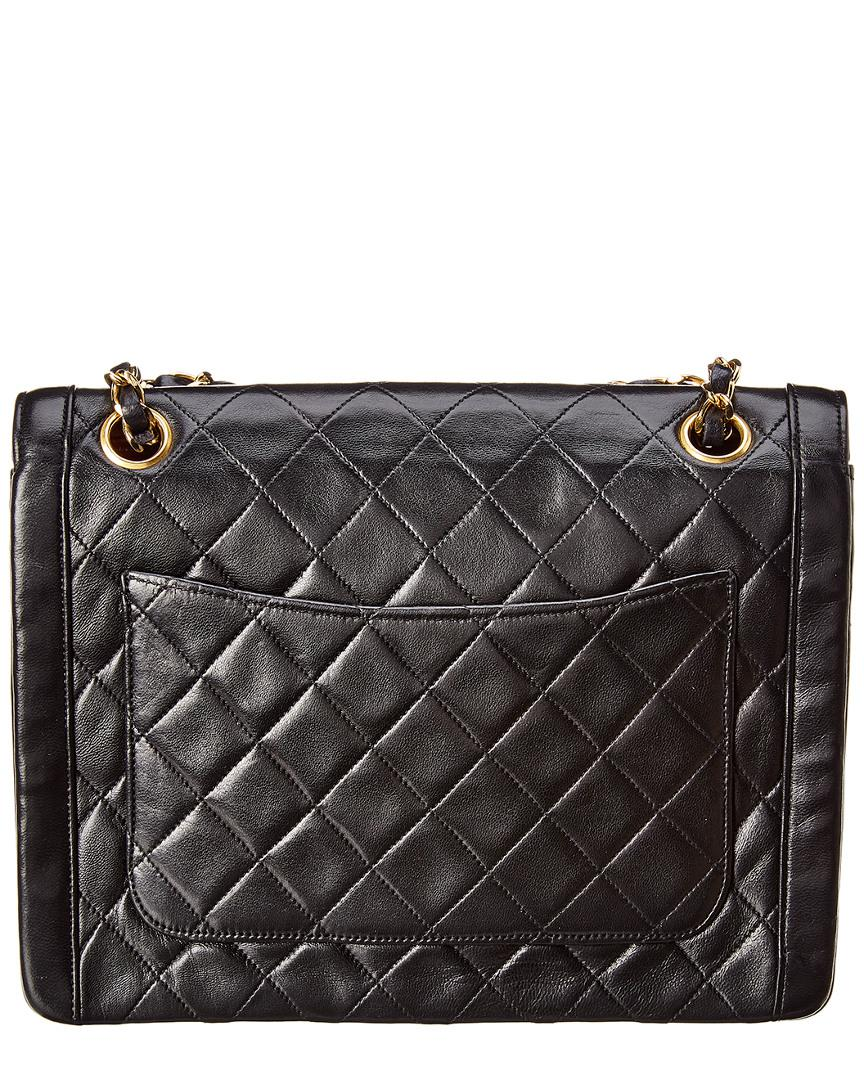 bf5e83c4eef1 Lyst - Chanel Black Quilted Lambskin Leather Shoulder Bag in Black