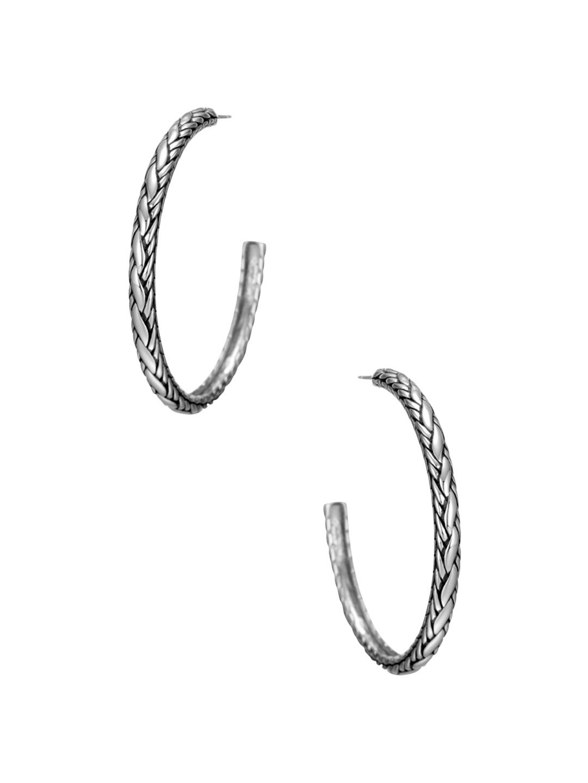 John Hardy 37mm Medium Woven Chain Hoop Earrings UN2wyWj