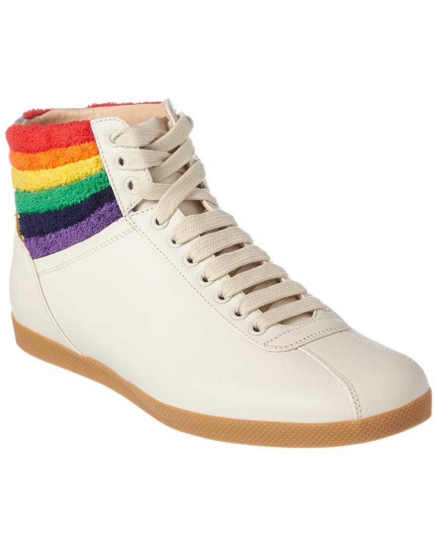 4cd796837606 Gucci Rainbow Leather High-top Sneaker in White for Men - Save 40 ...