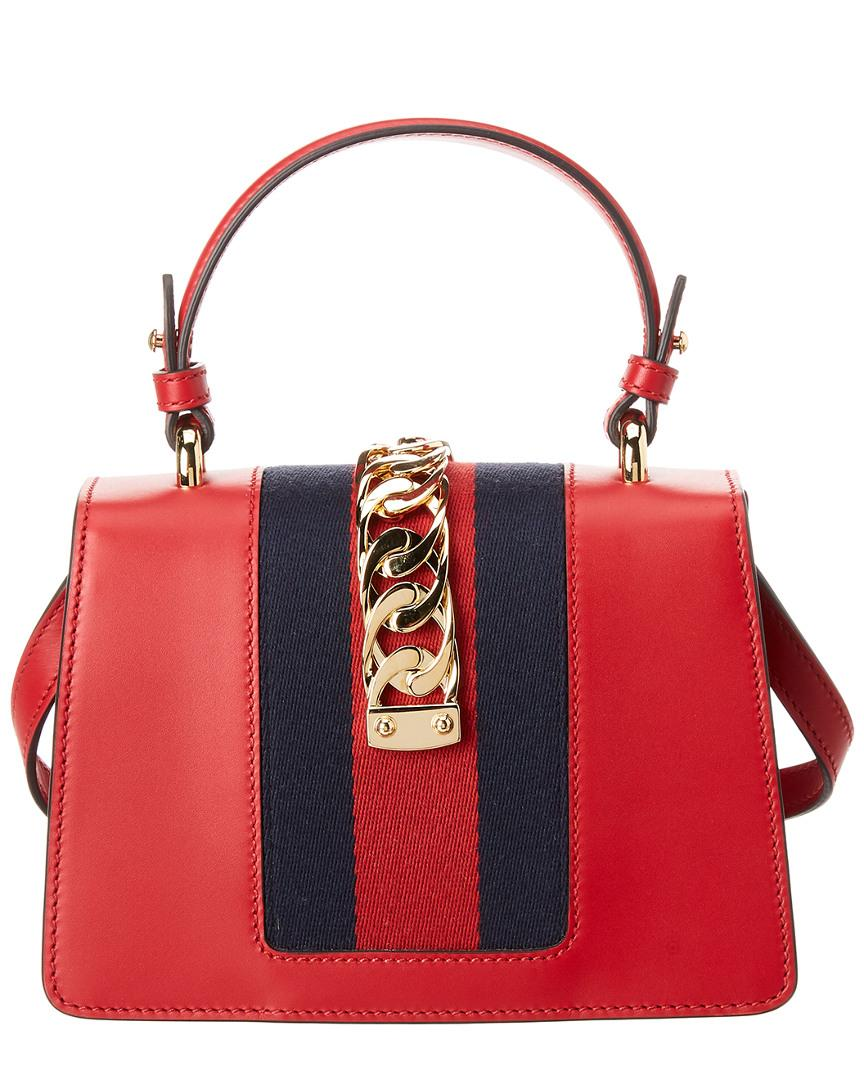 e2b69a5dec9 Lyst - Gucci Sylvie Mini Leather Shoulder Bag in Red