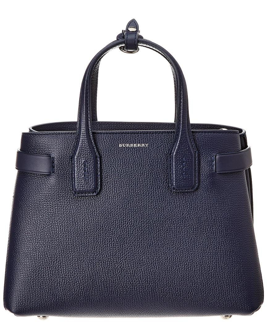 12e9405db5f4 Lyst - Burberry Small Banner Vintage Check Canvas   Leather Tote in Blue