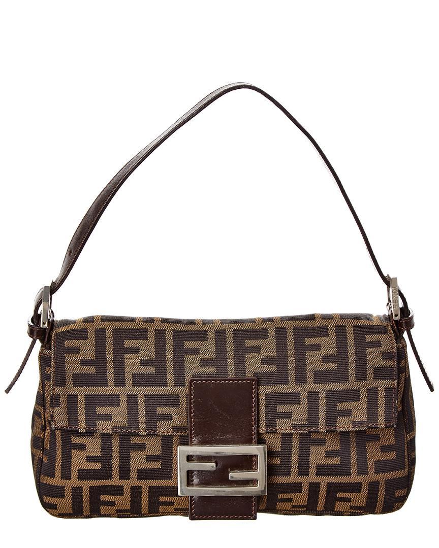 c17aae2c44bf Fendi Brown Zucca Canvas Baguette Bag in Brown - Lyst