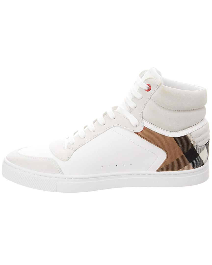 97af81ab517 Burberry Men s Reeth High-top Leather Sneakers in White for Men - Save 22%  - Lyst