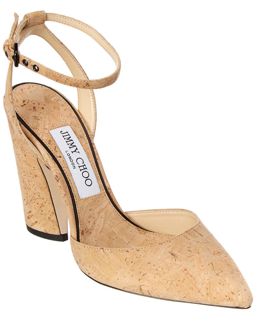 13d5a8405e0c Lyst - Jimmy Choo Micky 100 Cork Pump in Brown