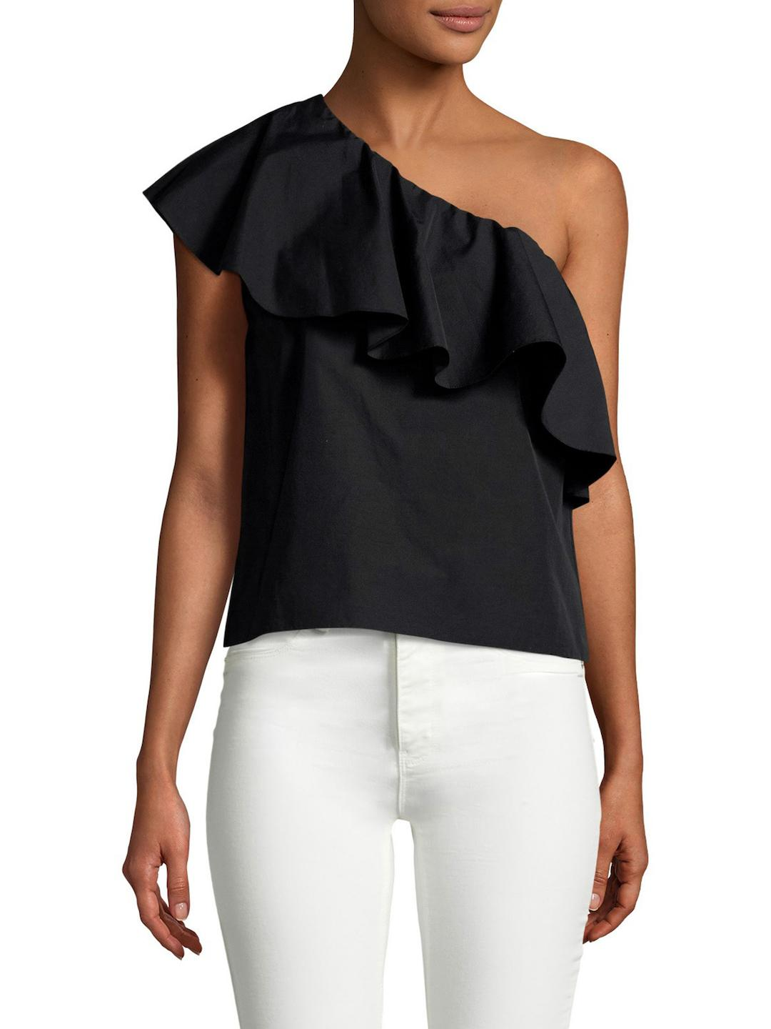 Alice+olivia Woman Calla One-shoulder Ruffled Cotton-poplin Top Black Size S Alice & Olivia Big Discount Sale Online Free Shipping Release Dates Buy Cheap Hot Sale Best Buy Buy Cheap Pre Order mw18xb