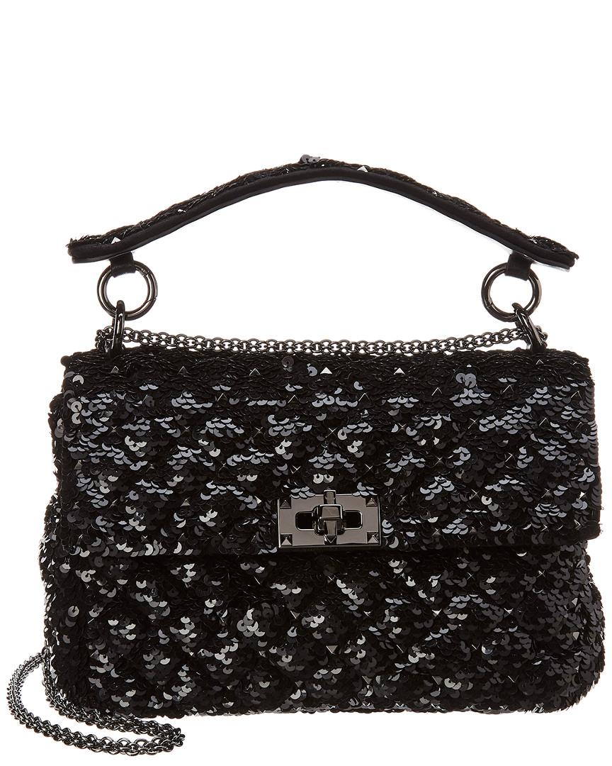 595b8260dc16a Valentino. Women s Black Rockstud Spike Medium Sequin Leather Shoulder Bag