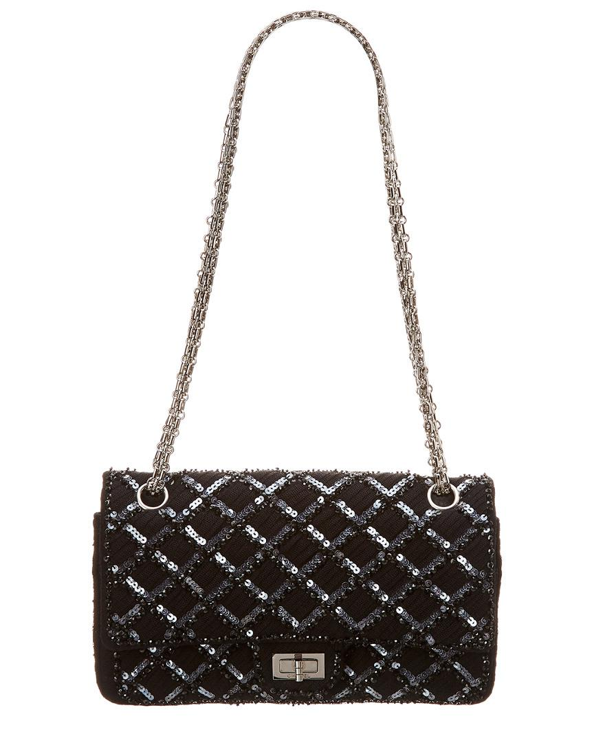 adffbb6df3d2 Chanel. Women s Limited Edition Black Sequins Medium 2.55 Reissue 226 Flap  Bag