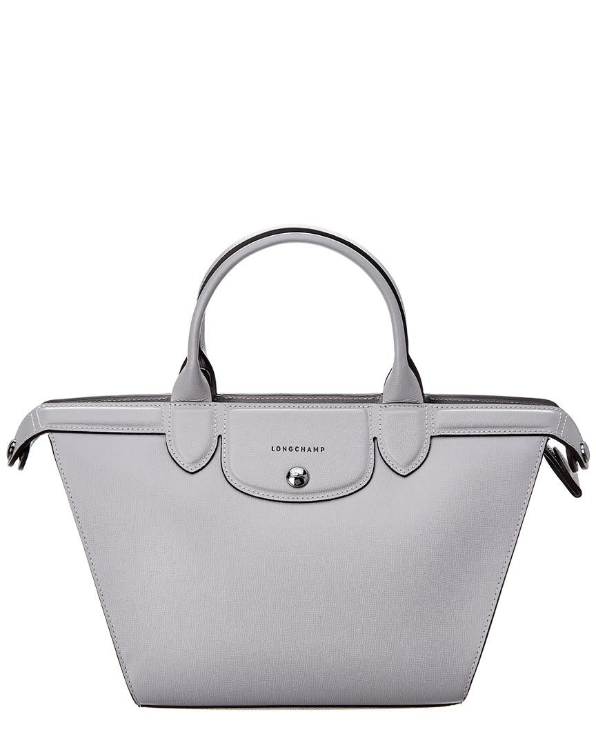 45abadfb325 Longchamp - Gray Le Pliage Heritage Medium Leather Top Handle Tote - Lyst.  View fullscreen