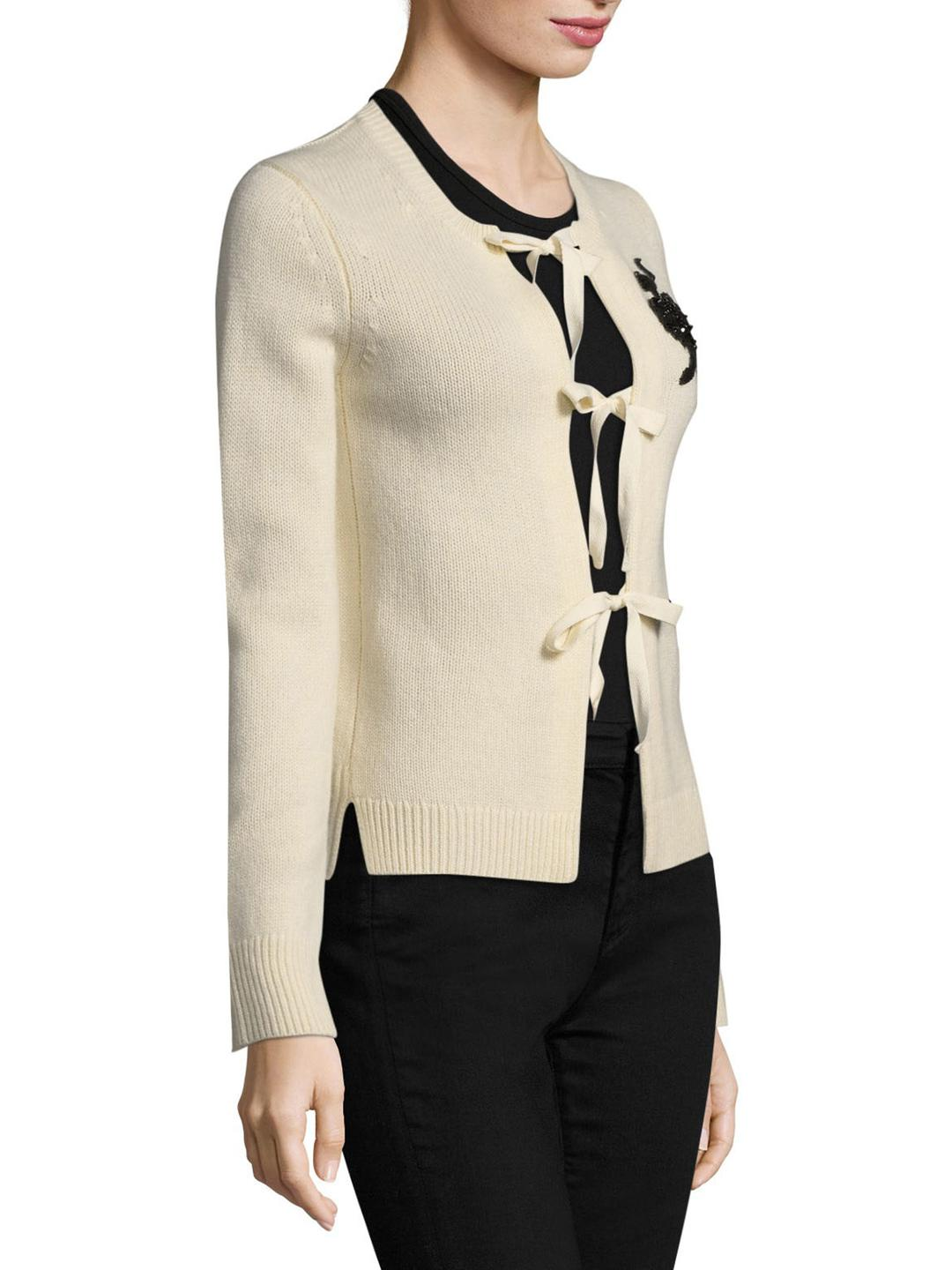 Marc jacobs Ballerina Sequin Cashmere Cardigan in White   Lyst