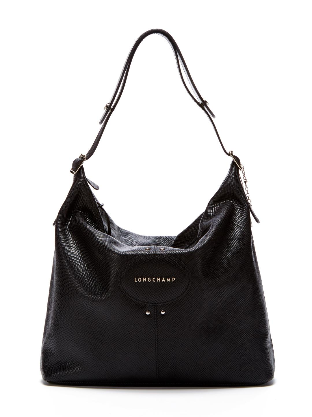 4847b44819d94 Lyst - Longchamp Quadri Leather Hobo Bag in Black