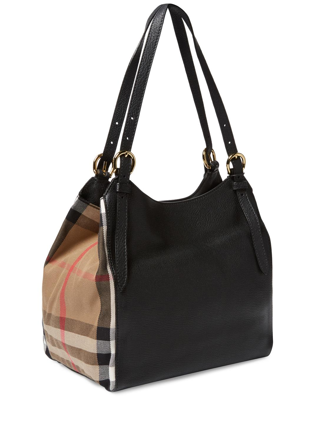 7be6532d6d26 Lyst - Burberry Small Canter Leather   House Check Tote in Black