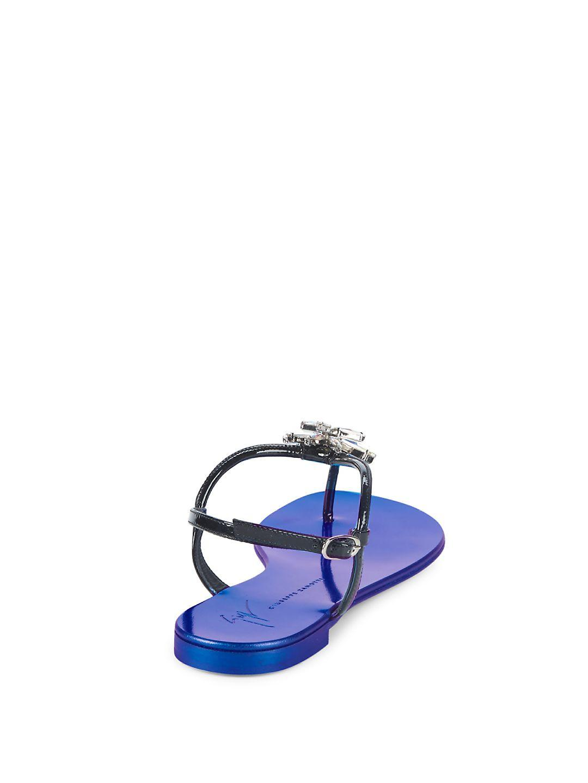 6c34b855f95 Lyst - Giuseppe Zanotti Starburst Leather Thong Sandals in Black