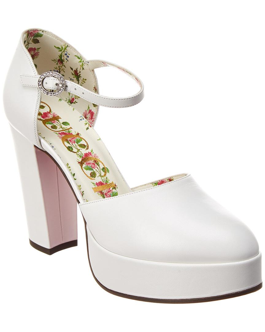 fe17d29a04b Lyst - Gucci Leather Ankle Strap Platform Pump in White