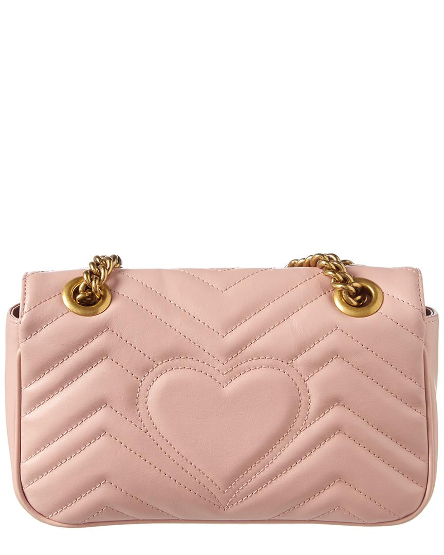 2c5552985142 Gucci GG Marmont 2.0 Matelasse Mini Leather Shoulder Bag in Pink - Lyst