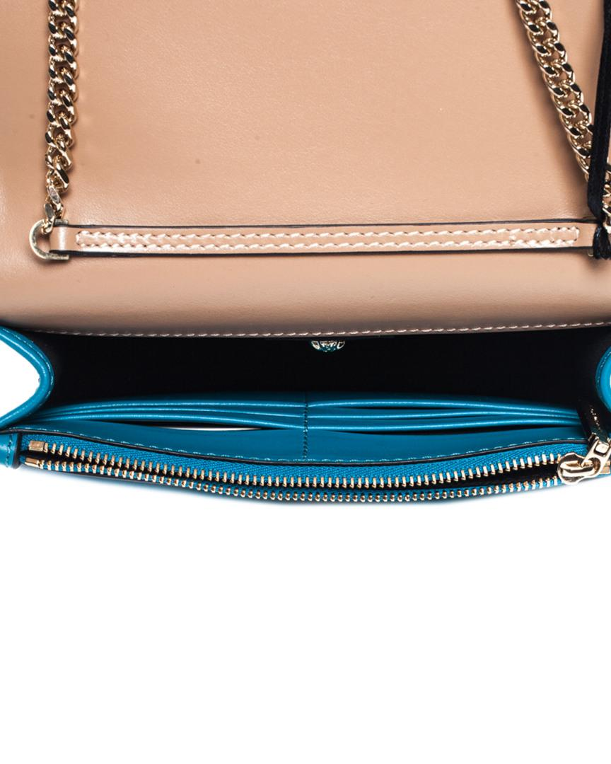 4361feacf33 Versace Blue & Beige Leather Medusa Wallet On Chain, Nwt - Lyst