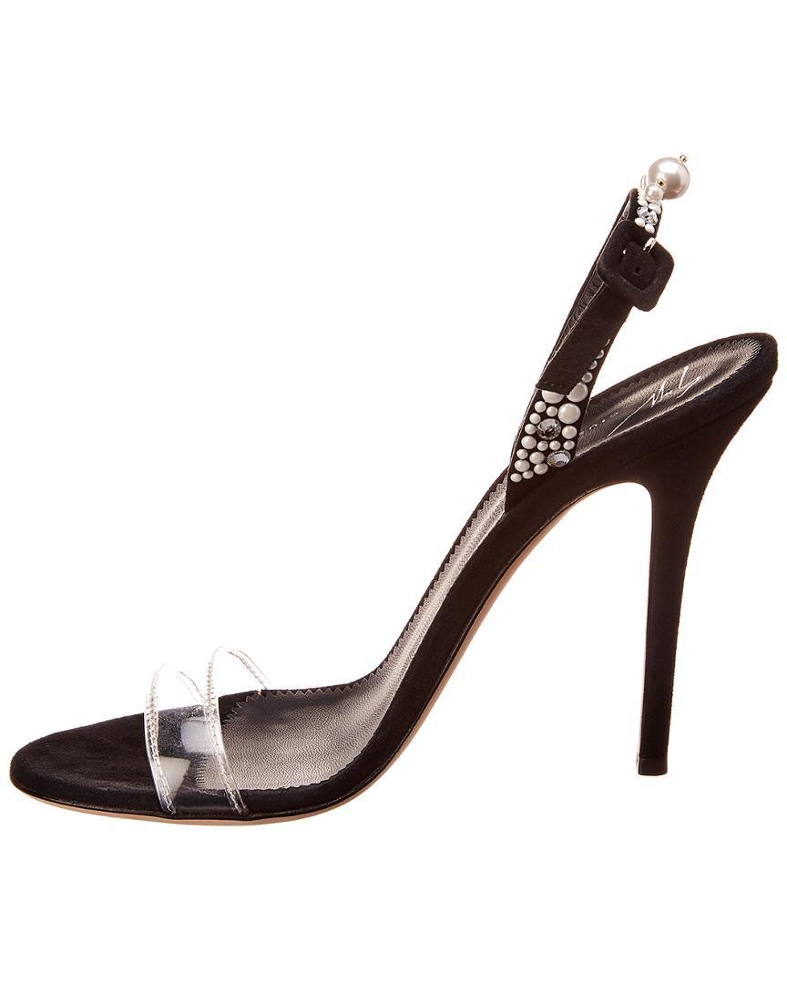 d5180083722 Lyst - Giuseppe Zanotti Suede   Pvc Sandal in Black