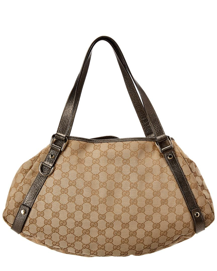 a69cf2f692bcdf Lyst - Gucci Brown Gg Supreme Coated Canvas & Leather Abbey Tote in Brown -  Save 11%