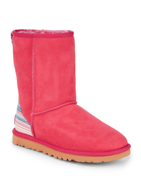 UGG. Women's Pink Classic Short Serape Pure Boots