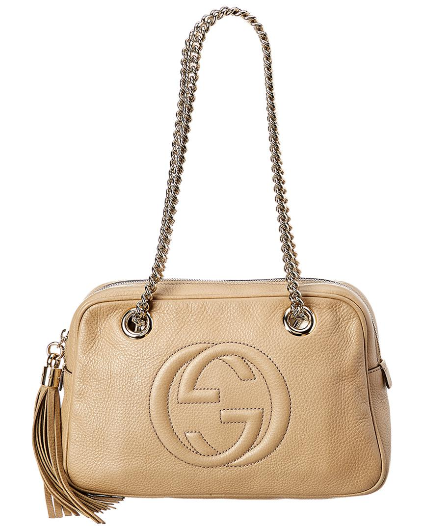 Lyst - Gucci Beige Leather Chain Soho Bag in Natural - Save 2% 3ae56c820f166