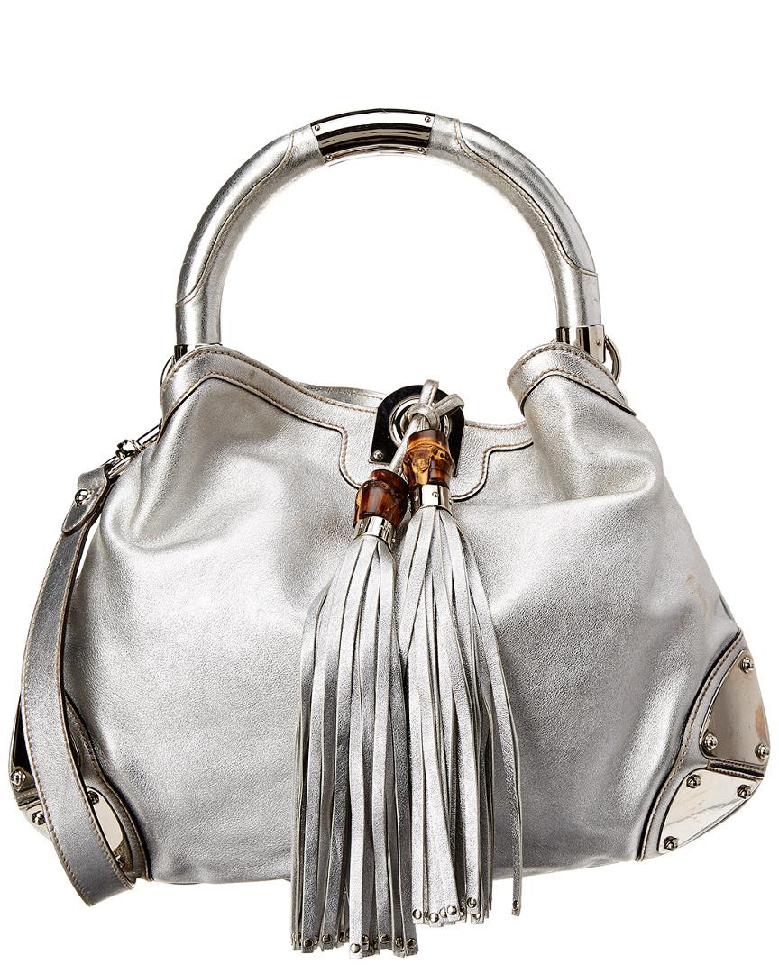 Lyst - Gucci Silver Leather Indy Hobo Bag b7eef0d9c7223