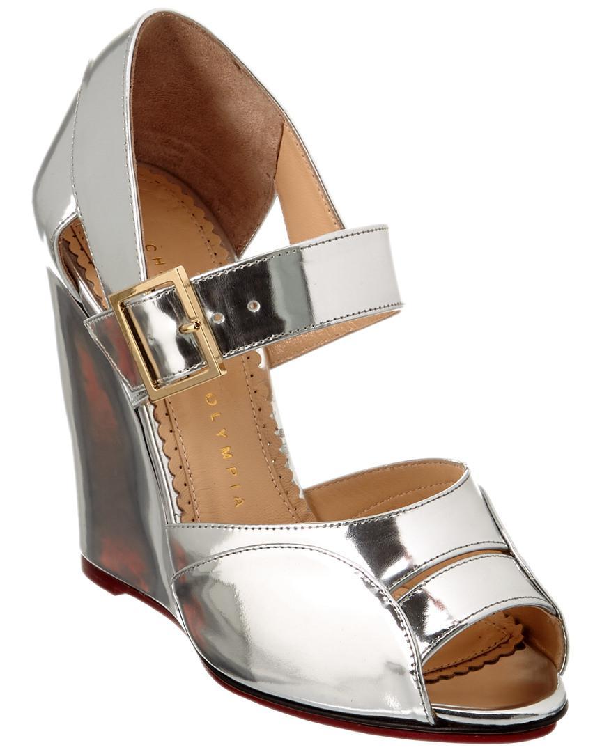 e1c6a8ecc6b3 Charlotte Olympia Marcella 100 Metallic Leather Wedge in Metallic ...