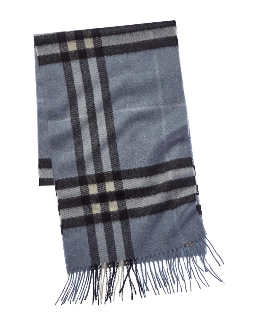 6a6965384fc34 Lyst - Burberry Classic Check Cashmere Scarf in Blue