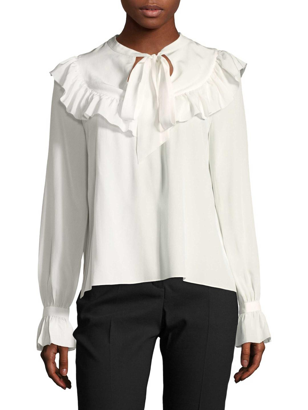 Outlet Comfortable Temperley London Woman Sunray Ruffled Tie-neck Cotton Shirt White Size 10 Temperley London Sale Low Price 6vycv