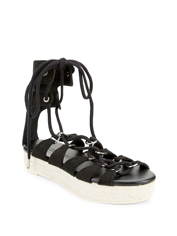 McQ. Women's Black Leather Wrap-around Sandals