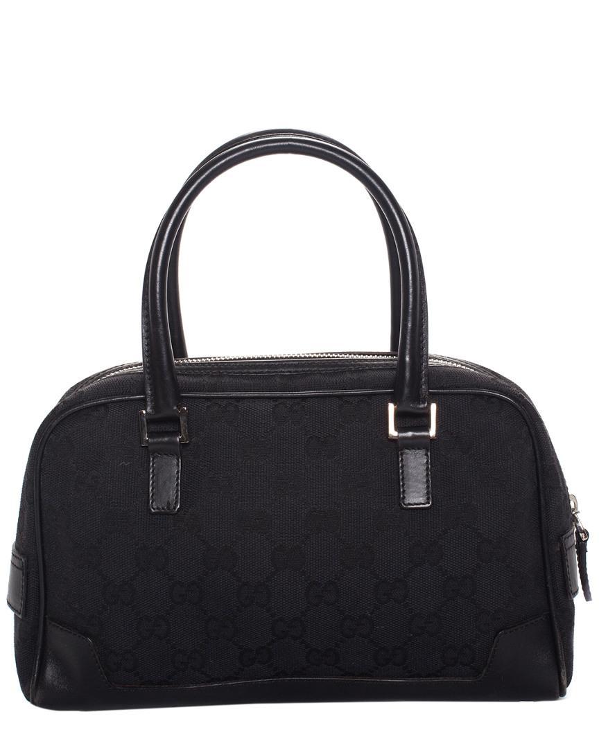 81e2fbc594 Gucci Black GG Supreme Canvas & Leather Trim Web GG Mini Bowler Bag ...