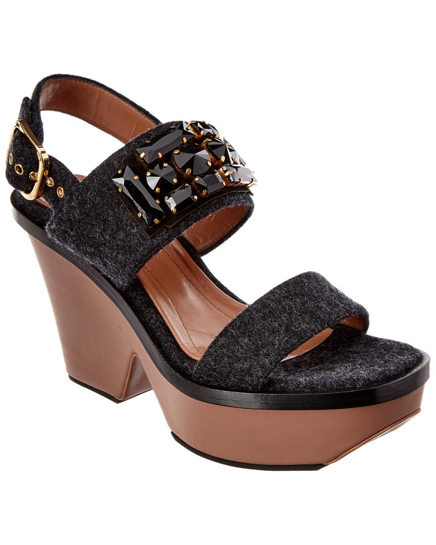 81e28b9cd97 Lyst - Marni Wedge Sandal in Black - Save 27%