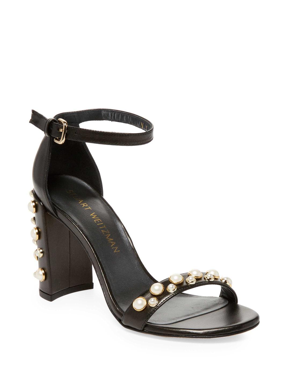 Stuart Weitzman. Women's Black Embellished Leather Block-heel Sandals