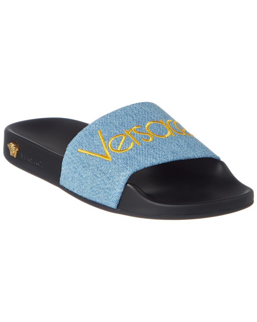 08aee2597f68 Versace Logo Denim Slide in Blue - Lyst