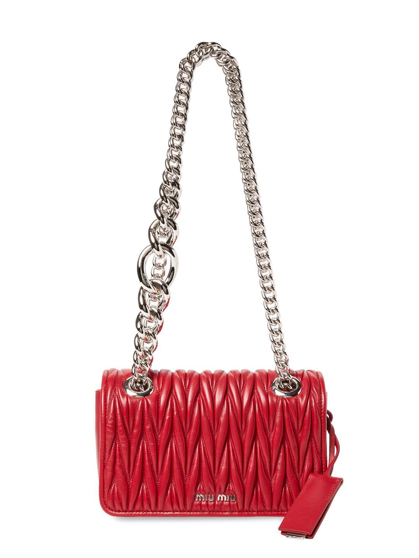 0ceb14781a4d Lyst - Miu Miu Club Small Matelass Leather Shoulder Bag in Red
