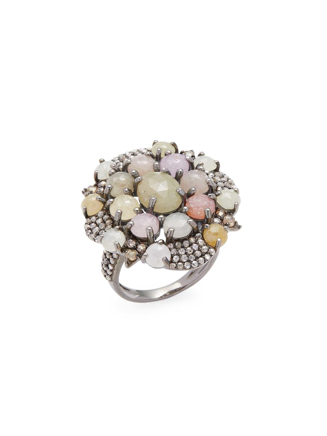 blue link oscar by and alternating diamond with multicolored heyman designed shaped bracelet sapphire oval sapphires pin pav separated yellow estate