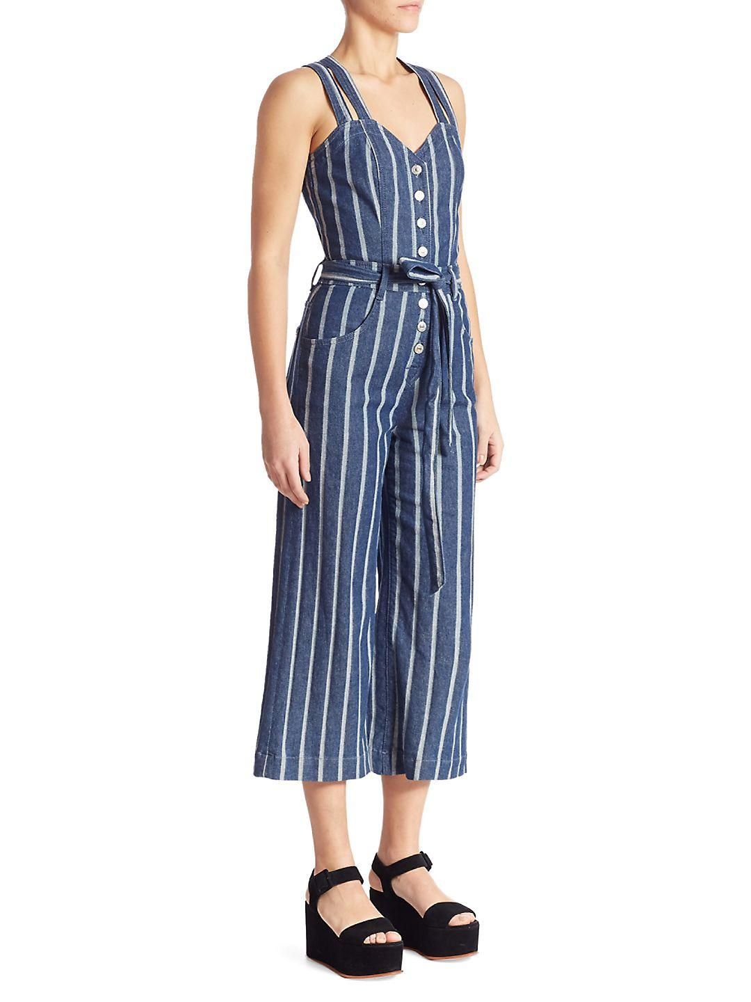 560b1236582 Lyst - 7 For All Mankind Striped Denim Jumpsuit in Blue