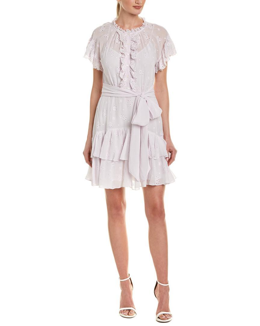 762257993cb Lyst - Rebecca Taylor Dree Embroidery Silk-blend Shift Dress in Purple