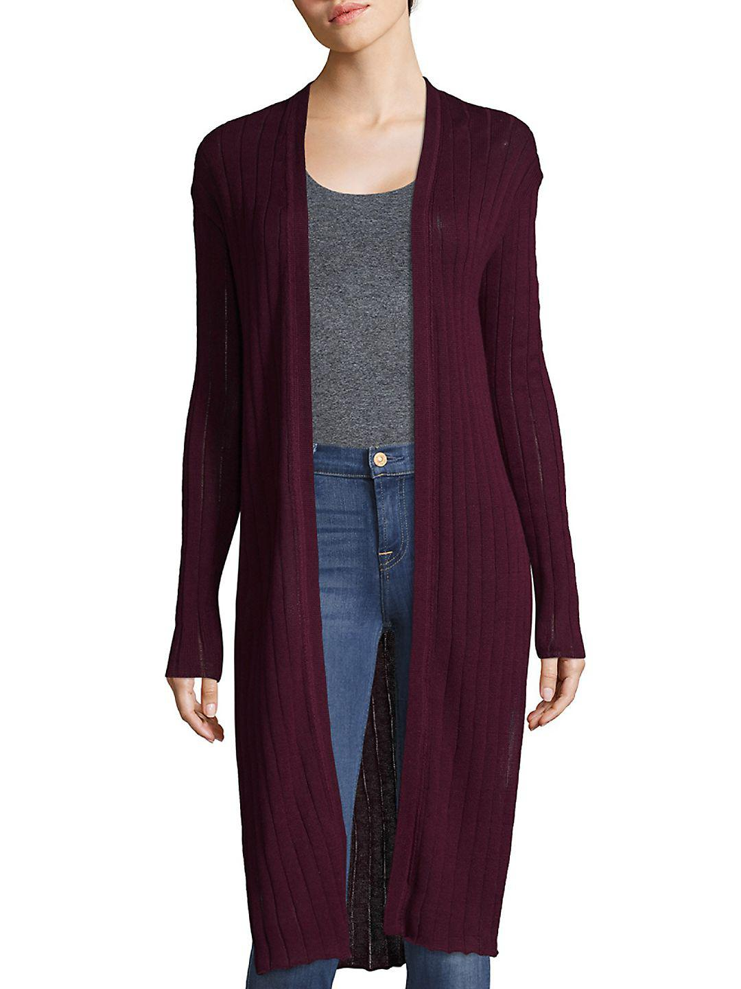 Free people Ribbed Duster Cardigan in Purple | Lyst