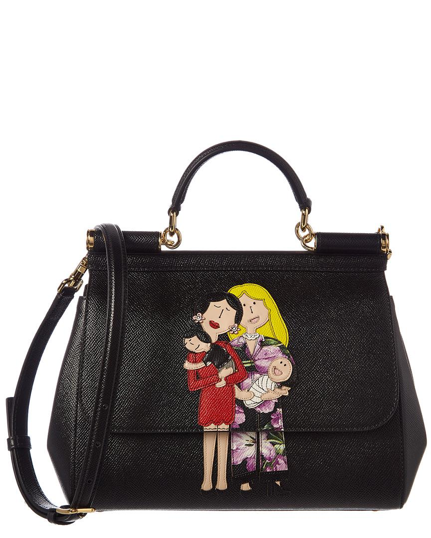 372a9e5c8cd Lyst - Dolce   Gabbana Family Patch Sicily Leather Shoulder Bag in Black