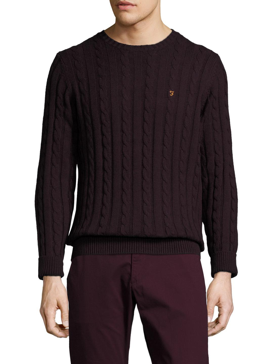 Farah Cotton Norfolk Sweater in Brown for Men | Lyst