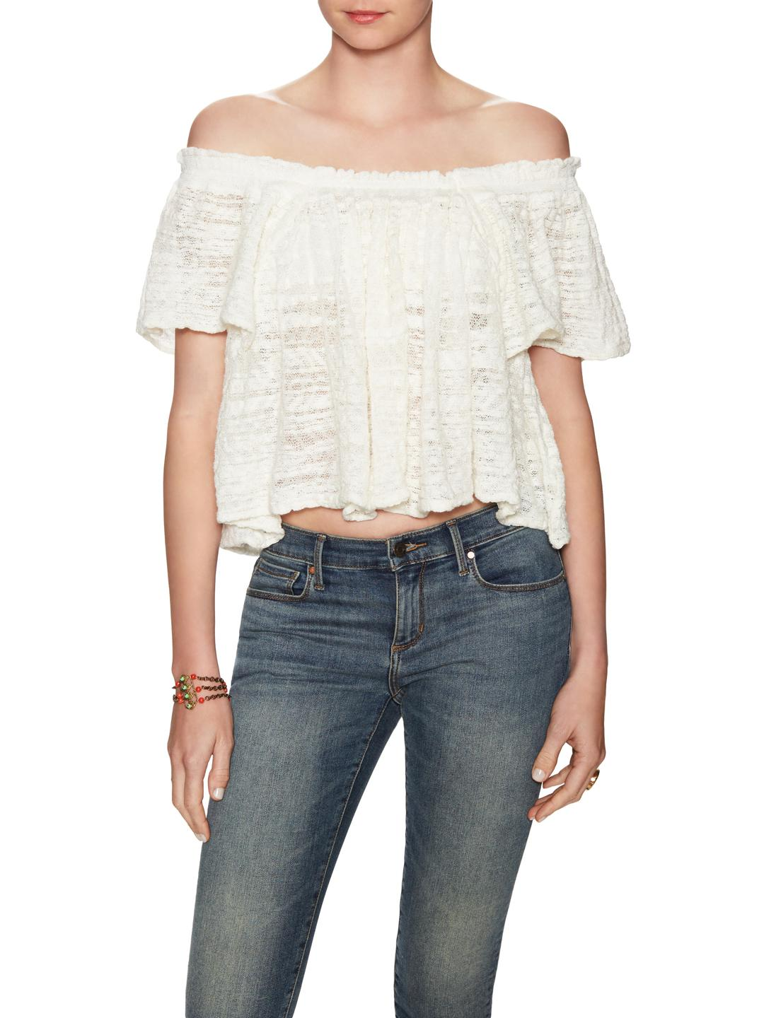 6bc7620b0fc Lyst - Free People Thrills And Frills Gathered Top in White