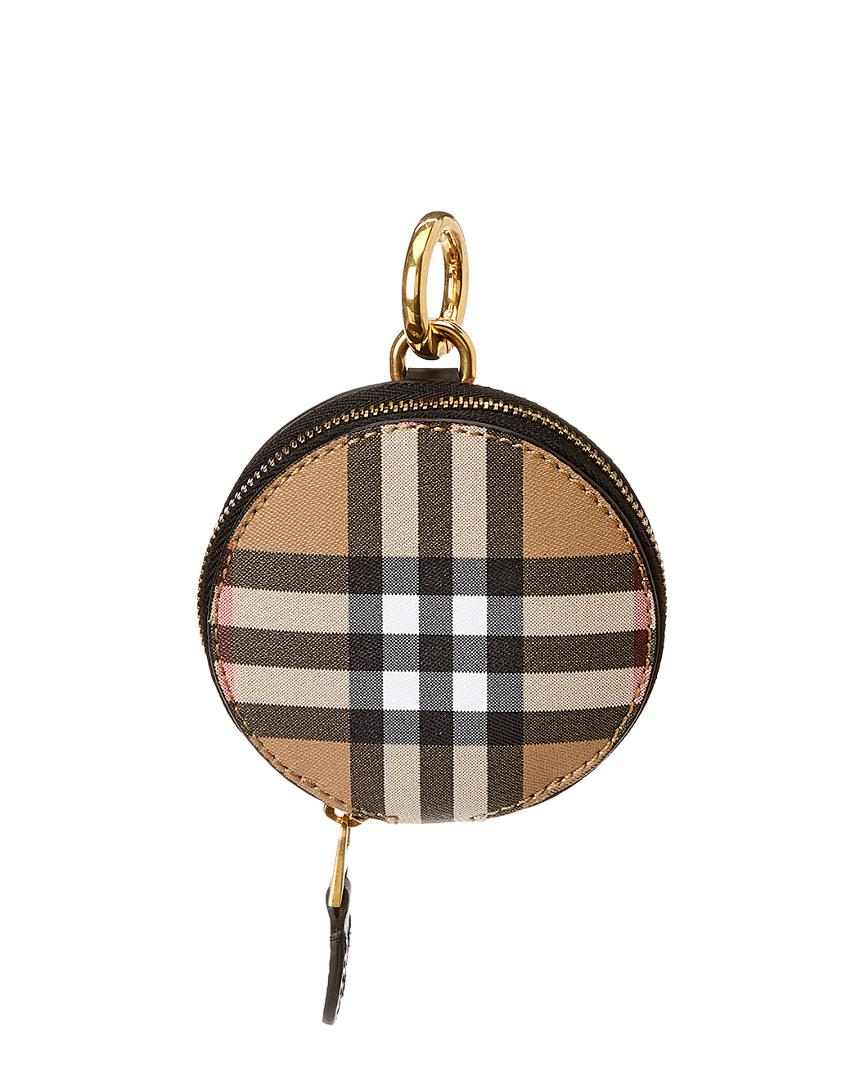 3413cac7c101 Lyst - Burberry Round Vintage Check Leather Coin Purse in Brown
