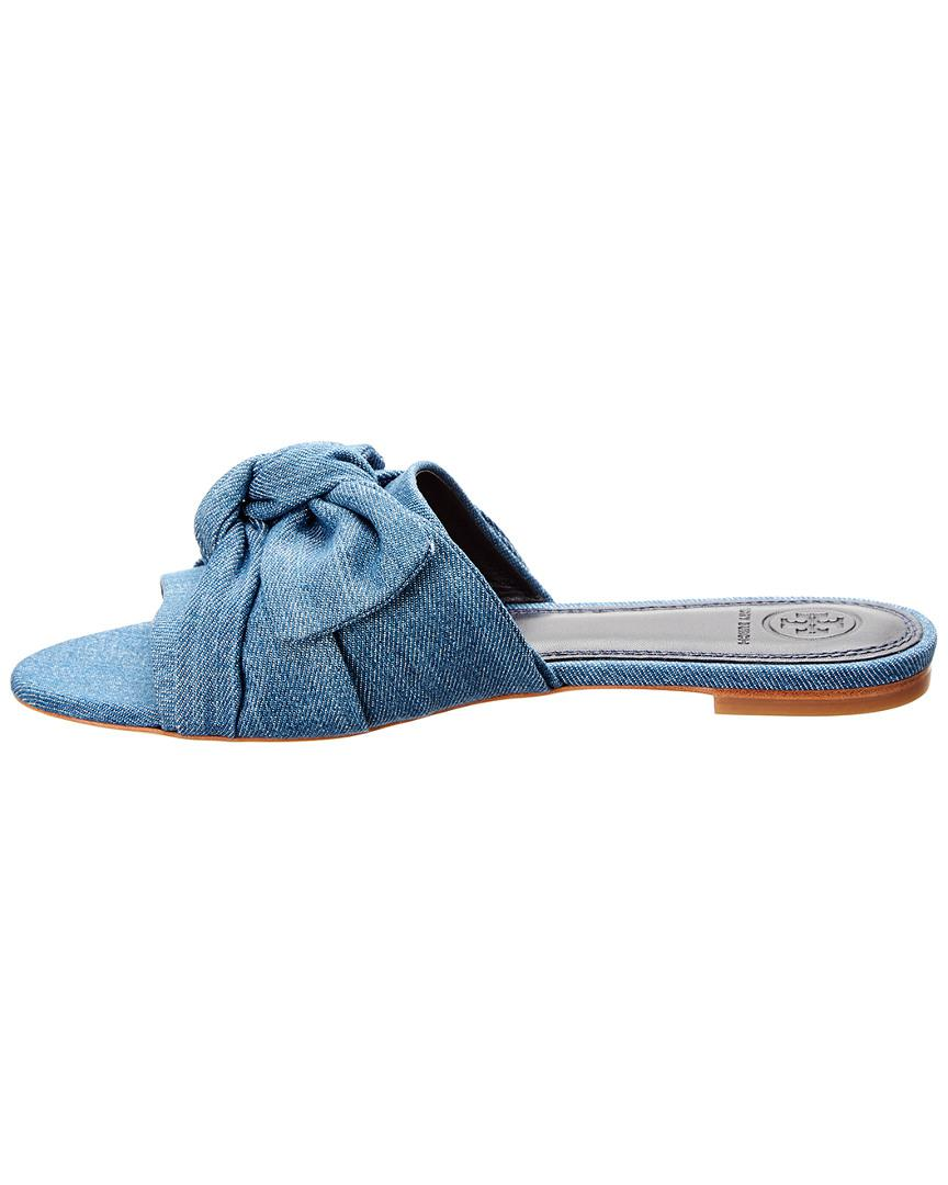 412c8ddff Lyst - Tory Burch Annabelle Suede Bow Slide in Blue - Save 45%