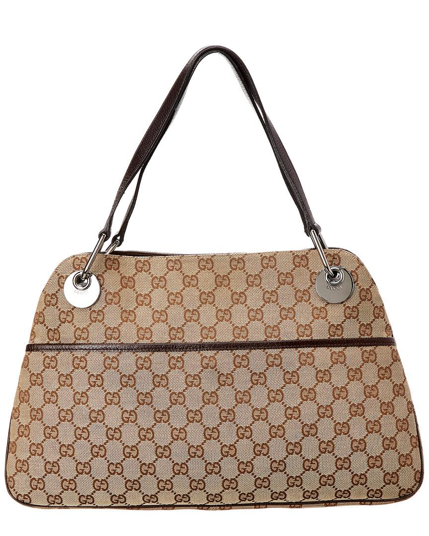 fc9cfee71df2 Gucci Brown GG Canvas & Leather Eclipse Tote in Brown - Lyst