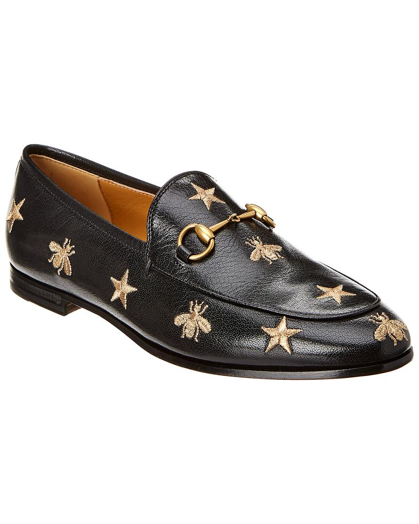 cdde17aa6ce Lyst - Gucci Jordaan Embroidered Bee Leather Loafer in Black