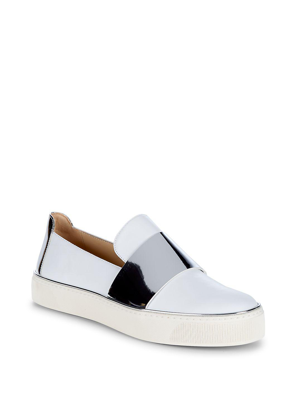 ee770ea466a Lyst - Stuart Weitzman Boyband Leather Skate Sneakers in White