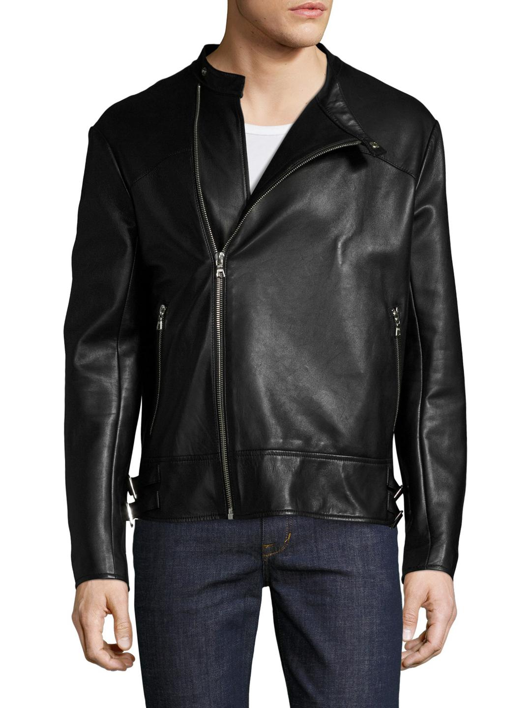 75076d8fa8e24 Lyst - Miguel Antoinne Leather Stand Collar Biker Jacket in Black ...