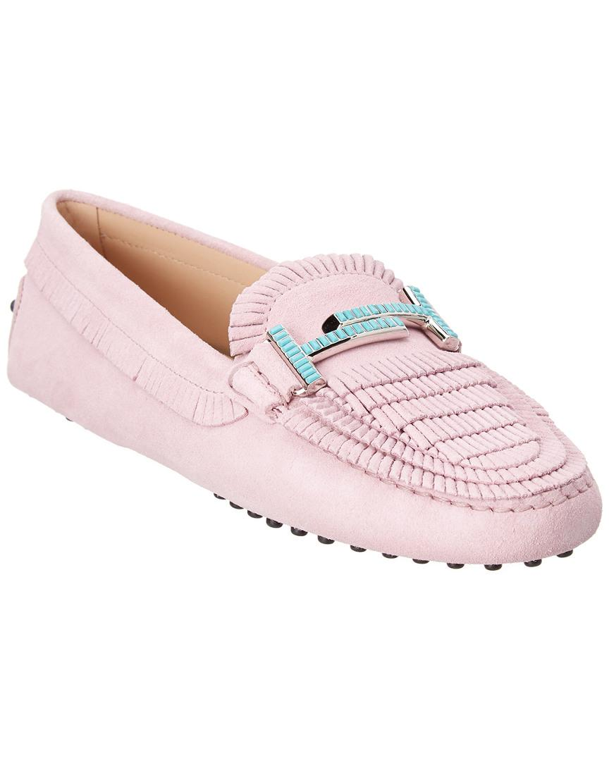 11b5d071bf2 Tod s Double T Gommino Suede Driving Shoe in Pink - Save 12% - Lyst