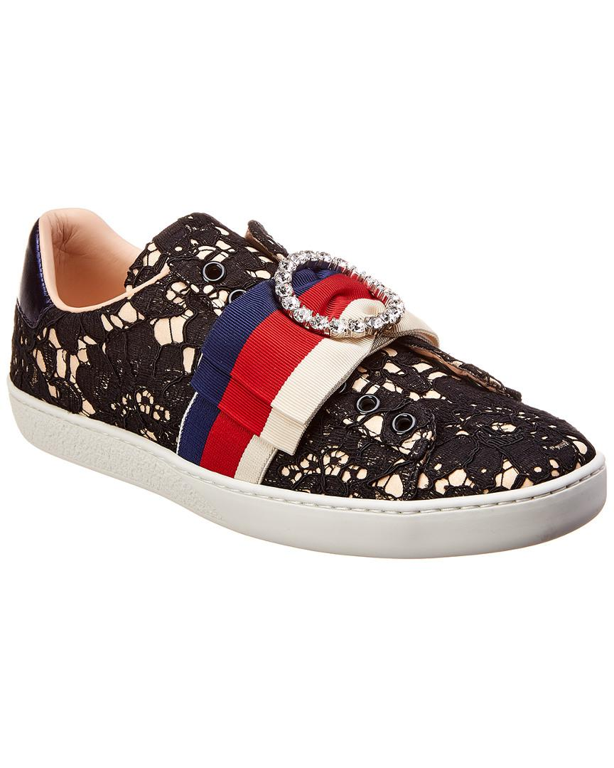 c512f69701e Lyst - Gucci Ace Stripe Flower Leather Sneaker in Black - Save 5%